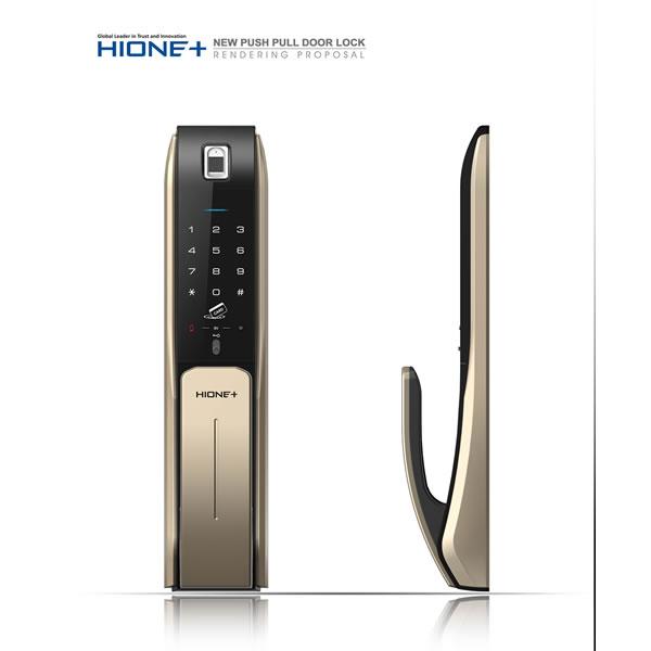 【海灣 HIONE】7190四合一韓規推拉電子鎖  指紋/密碼/感應卡/鑰匙